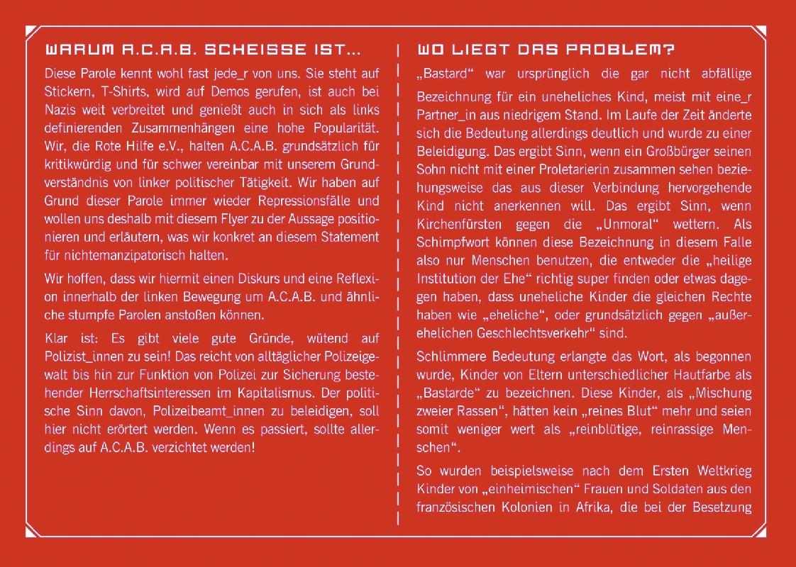 ACAB Flyer - Seite 2 und 3