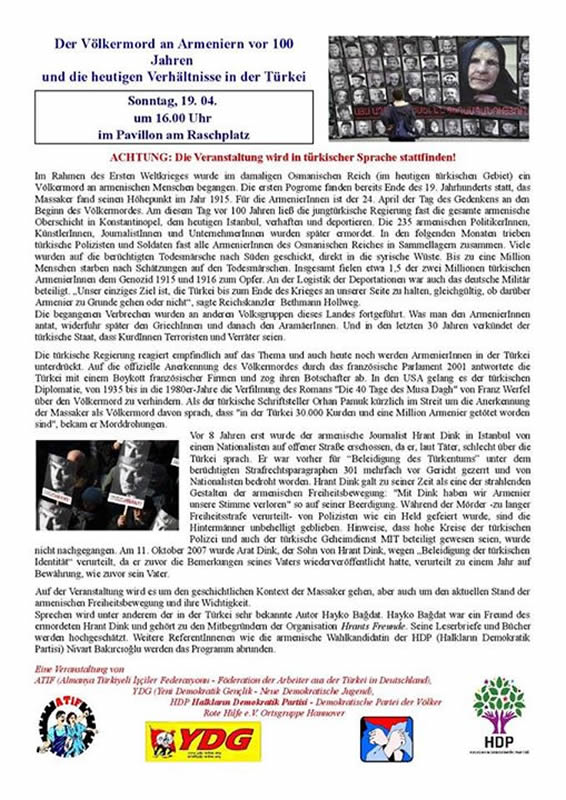 Der Völkermord an Armeniern vor 100 Jahren und die heutigen Verhältnisse in der Türkei