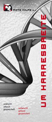 Infoflyer: Um Haaresbreite (DNA-Entnahme)